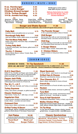 GNS Burgers, Melts and Dogs Menu