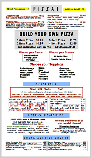 GNS Pizza Menu